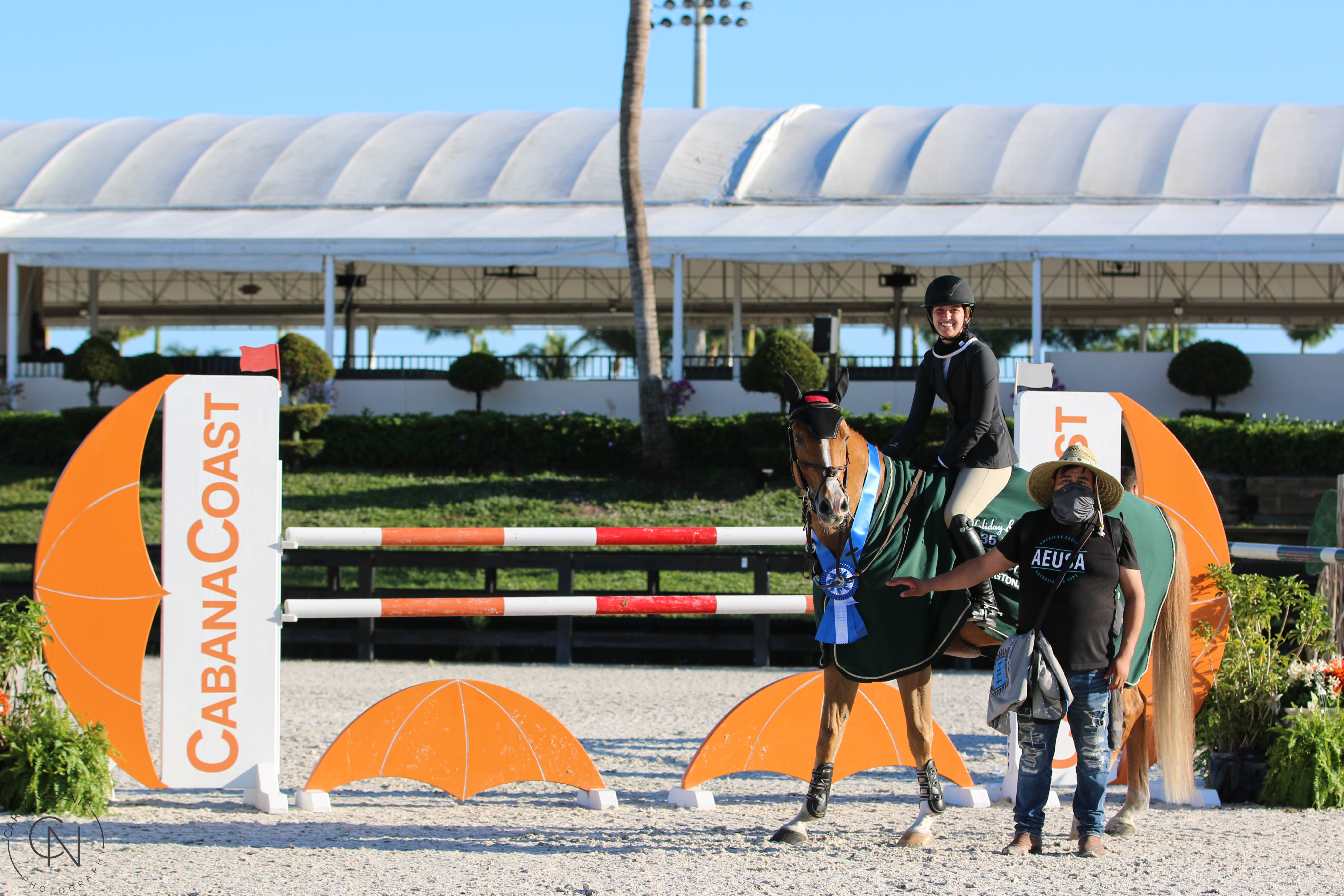 Annie Bolling and Mykonos SCF rode to victory in the $2,550 1.35m Jumper Speed Stake, presented by Cabana Coast ©Carly Nasznic Photography