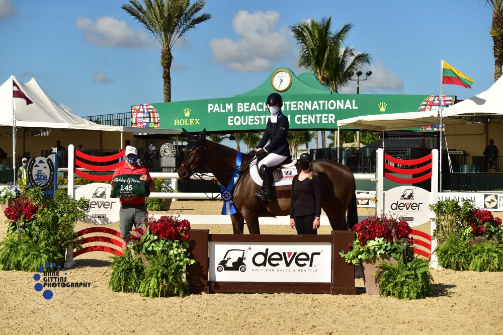 Sydney Shulman and Ardente Printaniere, pictured with Tony Navolio, Wellington Manager of Dever Golf Cars, won the $37,000 Dever Golf Cars 1.45m Speed CSI4*  ©Anne Gittins Photography