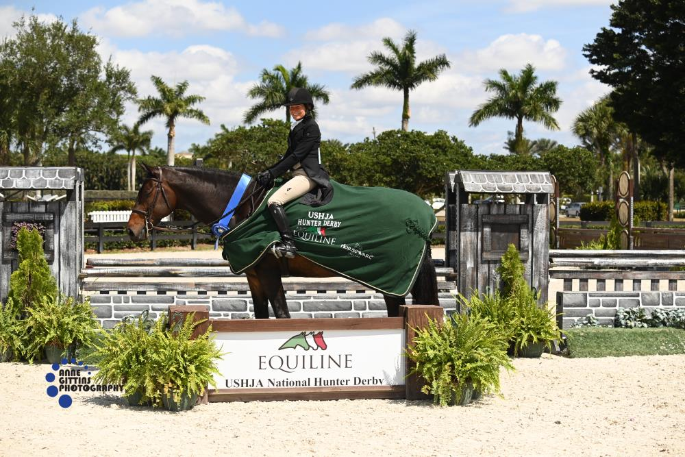 Ellen Toon and Gabriel won the $10,000 USHJA National Hunter Derby, presented by Equiline. ©Anne Gittins Photography