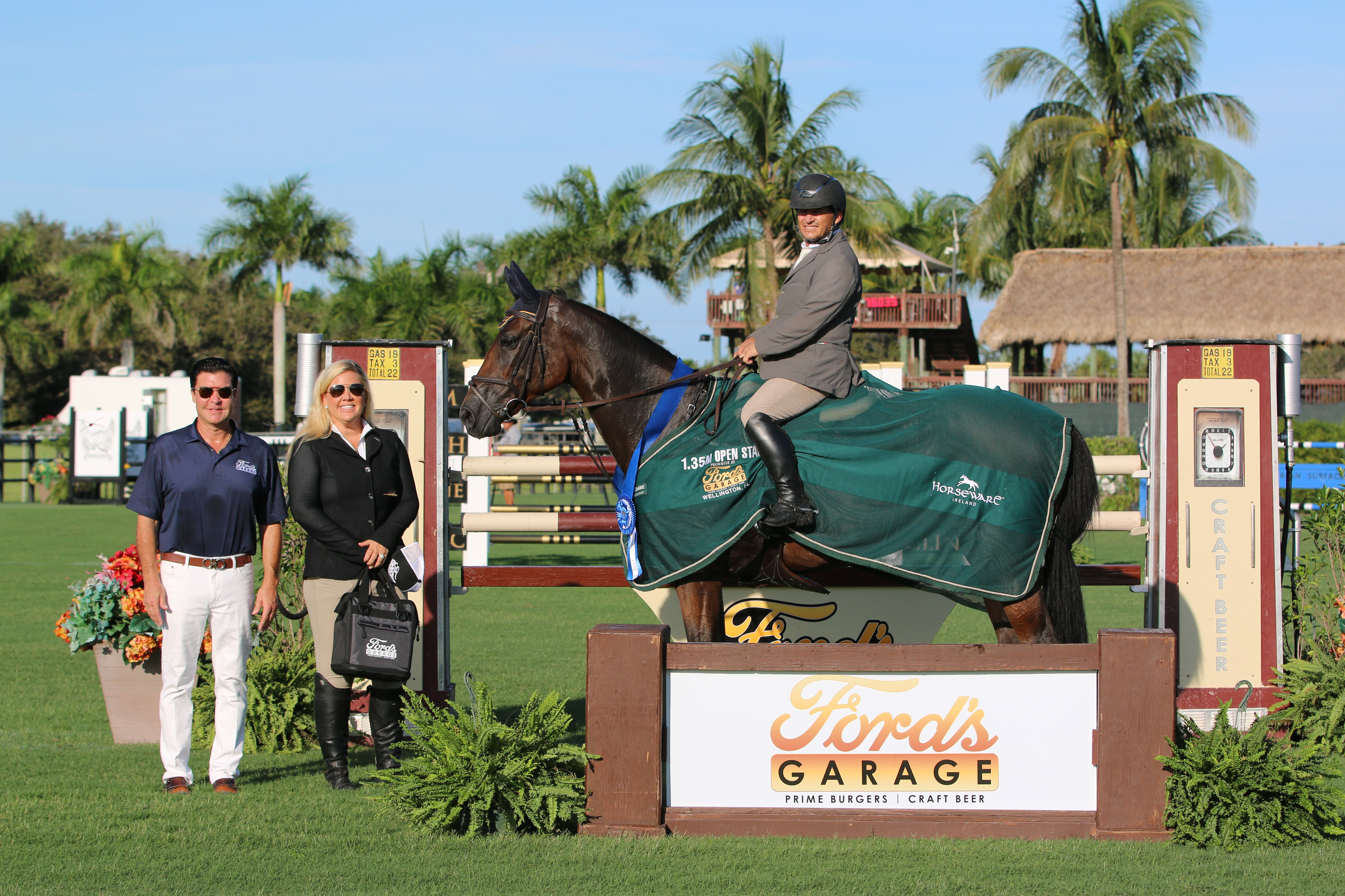 Diego Vivero and Flipper Lady, pictured with Owners of Ford's Garage, Kathleen Gannon-Ledsome and Kieth Ledsome, won the Ford's Garage 1.35m Stake. ©Carly Nasznic Photography