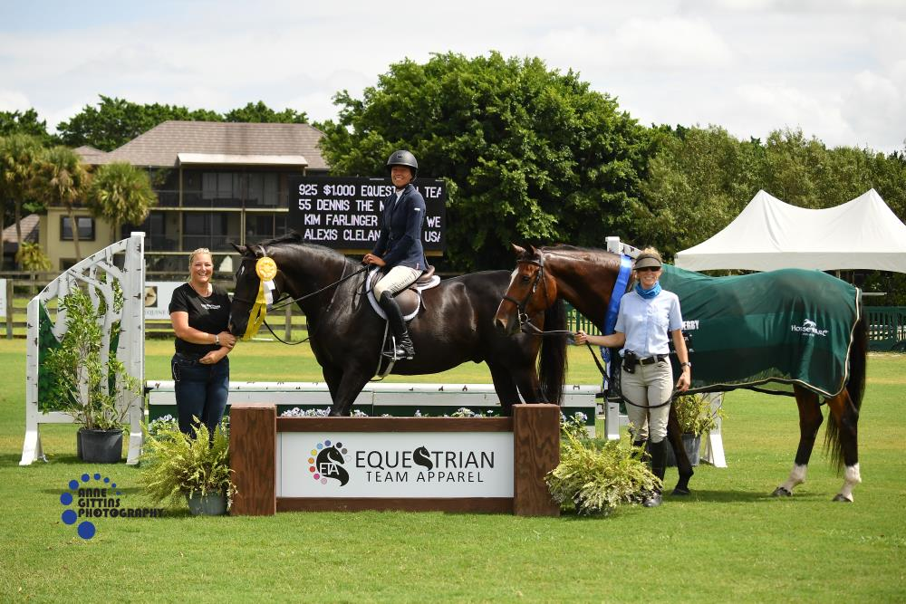 """Kim Farlinger, pictured with Staci Rosner of Equestrian Team Apparel and Jennifer Prior, won the $1,000 Equestrian Team Apparel 2'6""""/2'9"""" Hunter Derby riding Dennis the Menace, and also earned third place on Le Chat Noir. ©Anne Gittins Photography"""