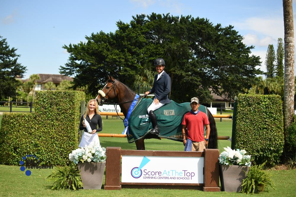 Juan Manuel Gallego and Adalberto Audi Scappino, pictured with Hailey Hak and Amilcar Bustamente, won the $25,000 Score At The Top Grand Prix. ©Anne Gittins Photography