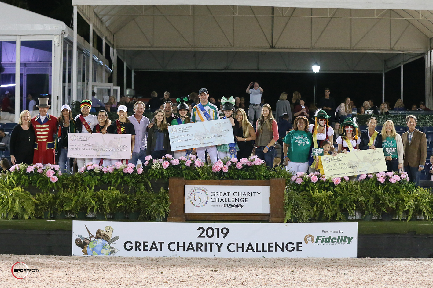 The top three teams, along with their charity and team sponsor representatives, for the 2019 Great Charity Challenge, presented by Fidelity Investments®. Photo © Sportfot.