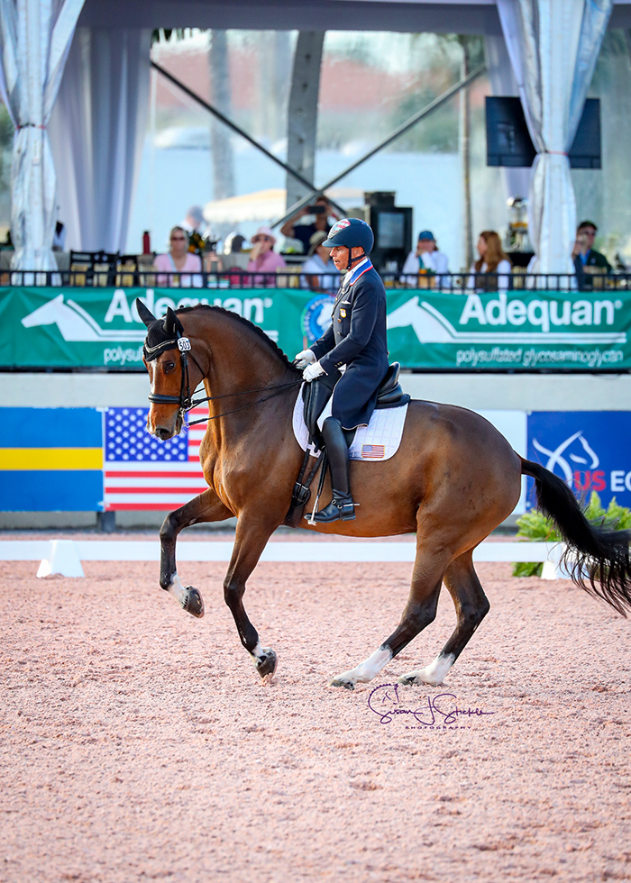 Steffen Peters (USA) and Suppenkasper top the Grand Prix for Special at their first show in six months.