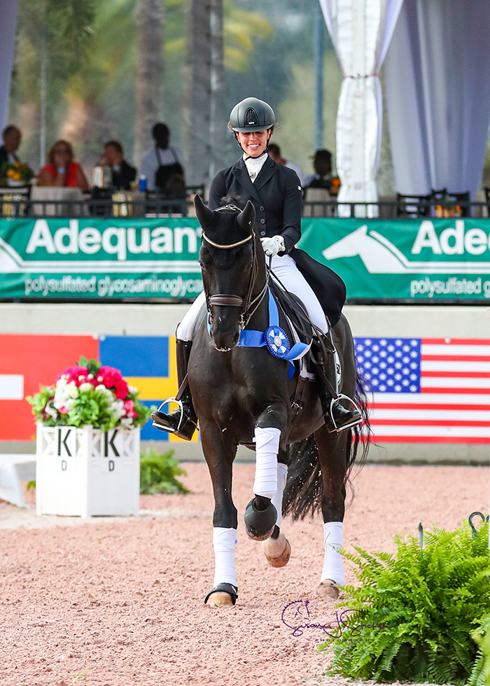 Caroline Darcourt (SWE) and the stallion Bon Coeur 1389 are victorious at their first international show together.