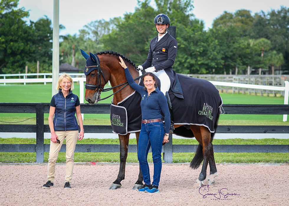 Pablo Gomez Molina and Ulises De Ymas in the prize-giving for the first Lövsta Future Challenge Intermediate II series qualifier of the season, with Swedish Olympic dressage rider Louise Nathhorst and Tinne Vilhelmson Silfven of Lövsta.