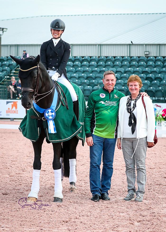 The breeding stallion Bon Coeur 1389 records 72.882% for FEI Prix St. Georges CDI1* victory under Sweden's Caroline Darcourt. ©️Susan Stickle.