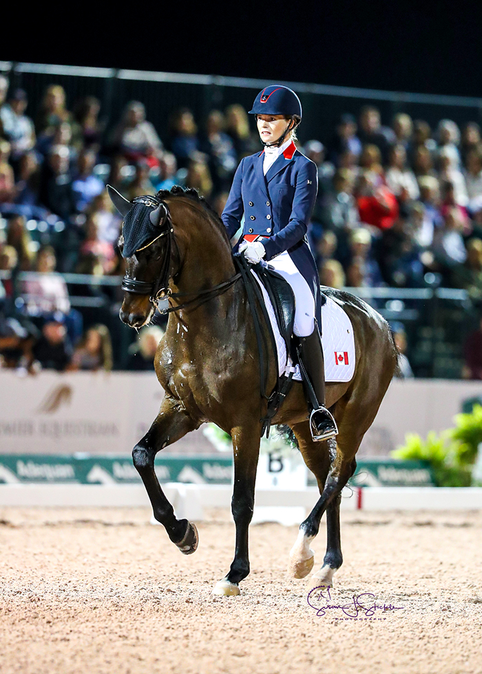 Canada's Lindsay Kellock and Sebastien, by Sandro Hit, finish third with 75.88%. ©️Susan Stickle.