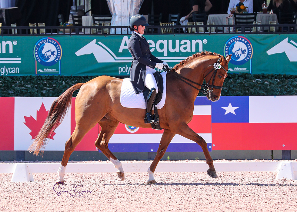 Beatrice Boucher (CAN) and Louxor De Lys capture the FEI Intermediate I Freestyle CDI3* for their second win of the week. ©️Susan Stickle.